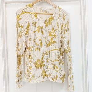 J. Jill yellow floral ribbed lace cotton cardigan